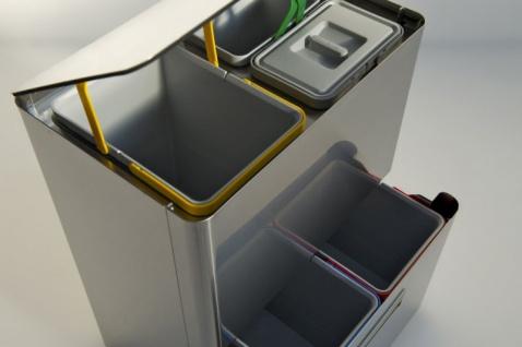 Graepel High Tech hochwertiges Mülleimer-Trennsystem Five aus gebürstetem Edelstahl - Vorschau 4