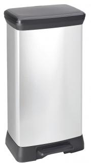 Rechteckiger Tritt-Mülleimer Decobin 50 Liter Silber, Schwarz