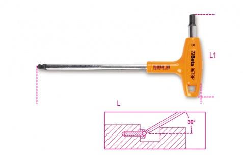 Beta Sechskant-Stiftschlüssel, gebogen, mit kugelförmigem Kopf und Griff 96TBP