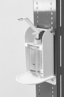 Hygiene- und Desinfektions-Station Grau inkl. Desinfektionspender und inkl. Halterung für Papierhandtuchrolle und Handschuhe, Abfallbox 13lt. - Vorschau 3