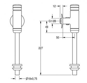 Franke Urinaldruckspüler DN 15 für Aufputzmontage aus Messing poliert verchromt - Vorschau 2