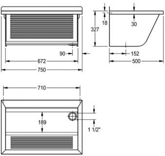 Franke Universalwaschtrog CA210/2 zur Wandmontage aus Edelstahl - Vorschau 3