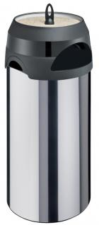 Ascher-Papierkorb, 60 Liter Edelstahl, Schwarz