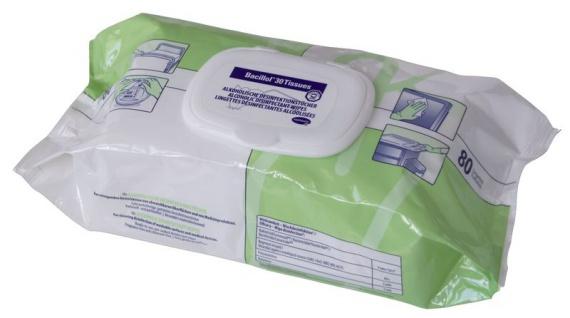 Bacillol® 30 Tissues im handlichen Flowpack zur Flächendesinfektion in 2 Größen