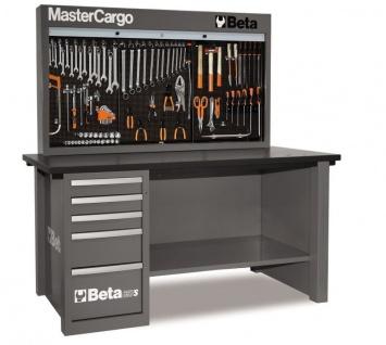Beta Werkbank Mastercargo grau mit Werkzeugwand und Schubladen