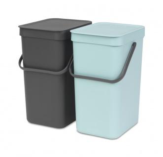 Einbau abfallsammler Sort & Go 2x12 Liter, Brabantia Mint, Grau