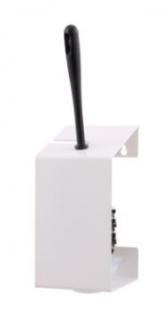 MediQo-line WC-Bürstenhalter in Weiß oder Edelstahl zur Wandmontage inkl. Schwarz-Weißer Bürste