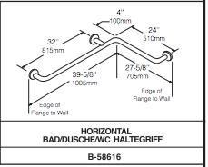 Bobrick Griffstange mit 408 kg belastbar Edelstahl 90° für Bad- Toilettenbereich. - Vorschau 2