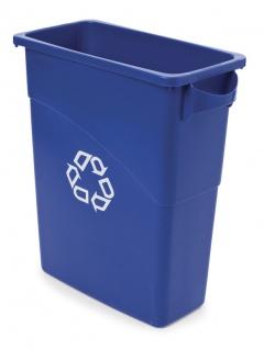 Slim Jim mit Griffe 60 Liter, Rubbermaid Blau, Recyclingsymbol