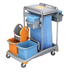 Splast Reinigungswagen mit Abfallsackhalter mit Deckel, Moppresse und 3 Eimern