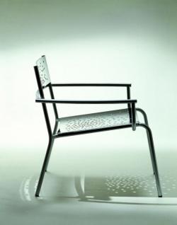 Tempesta italienischer Outdoor Sessel aus Edelstahl 1.4016 silber lackiert und behandelt