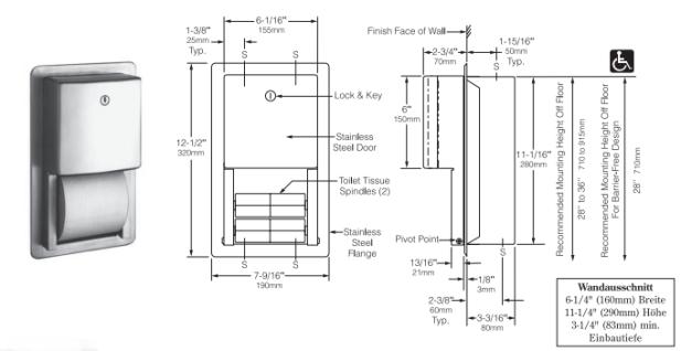 bobrick b 4388 wc papierhalter f r mehrere rollen aus edelstahl f r wandeinbau kaufen bei. Black Bedroom Furniture Sets. Home Design Ideas