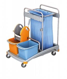 Splast Reinigungswagen mit Moppresse, Abfallsackhalter, 2 Eimern und Plastikbasis