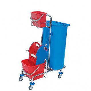 Splast verchromter Putzwagen mit Moppresse, Beutelhalter 120l und Plastikeimern