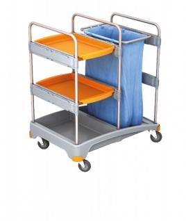 Splast Putzwagen aus Kunststoff - mit 2 Ablagefächern und Abfallsackhalter 120l