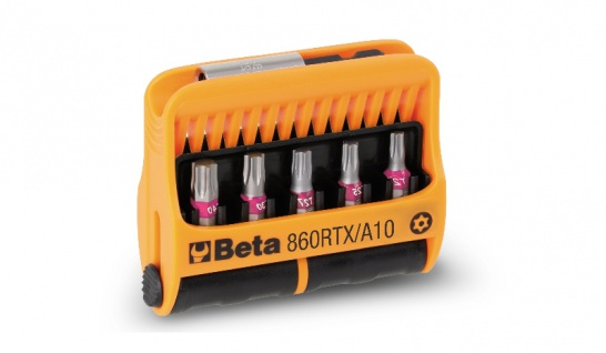 Beta Sortiment mit 10 Schraubeinsätzen und magnetischer Schraubeinsatzhalter, im Kunststoffkasten 860RTX/A10
