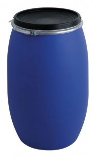 Tonne aus Kunststoff 220 Liter Blau, Schwarz