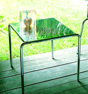 Graepel Tempesta erstklassiger Outdoor Tisch aus Edelstahl 1.4016 silber lackiert und behandelt