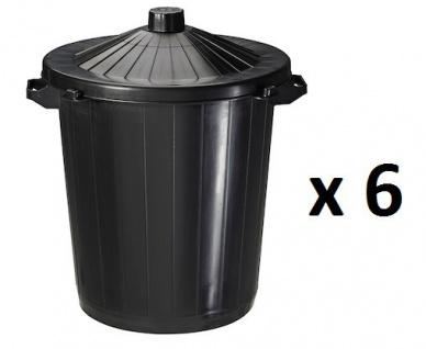 6er Set Rossignol schwarze Kunststoffabfallbehälter 80L mit integrierten Griffen