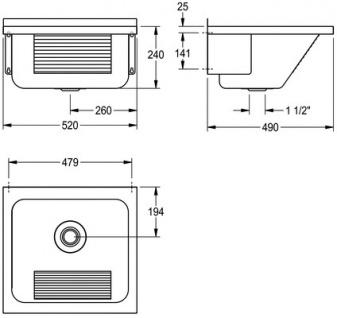 Franke Universalwaschtrog aus Chromnickelstahl ohne Armaturenbank mit mittige Abläufe - Vorschau 2