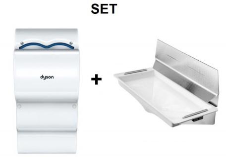 SET Dyson Airblade Händetrockner AB14 + DripTray Tropfschale mit Wandschutzblech