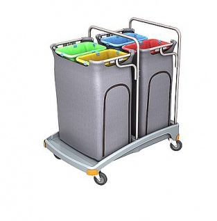 Splast Abfallwagen mit 4x 70l Beutelhaltern und Seitenabdeckung - Deckel optional