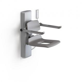 Pressalit Duschsitz mit Pflegeöffnung, Motor, Rücken- und Armlehnen, Fernbedienung