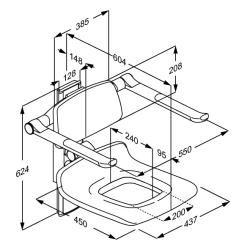Pressalit manuell einstellbarer Duschsitz mit Pflegeöffnung, max. Belastung 300 kg - Vorschau 2
