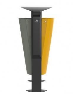 Rossignol Arkea Abfallbehälter 2 x 60L aus Stahl mit Ascher 3L in 3 Farben erhältlich