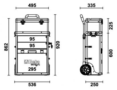 Beta Trolley mit 2 Stapelbaren Modulen, rot - Vorschau 5