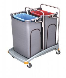 Splast Doppel-Abfallwagen aus Plastik 2 x 120l mit Seitenabdeckung - Deckel optional