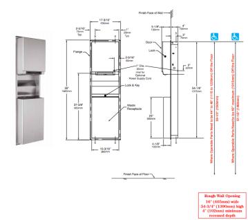 Bobrick B-3974 Papierrollenspender und Abfallbehälterkombintion für Wandeinbau - Vorschau 2