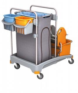 Splast Reinigungswagen-Set mit Plastikbasis, Beutelhalter, 2 Eimern und Mopppresse