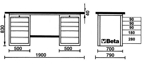 Beta Werkbank Mastercargo, orange mit Werkzeugwand und Schubladen - Vorschau 2