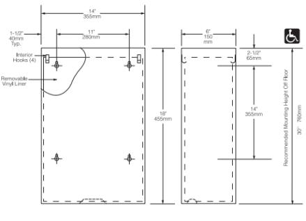 Bobrick B-279 Classic-Serie Abfallbehälter aus Edelstahl matt geschliffen 24 Liter - Vorschau 2