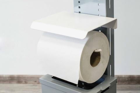 Hygiene- und Desinfektions-Station Grau inkl. Desinfektionspender und inkl. Halterung für Papierhandtuchrolle und Handschuhe, Abfallbox 13lt. - Vorschau 5