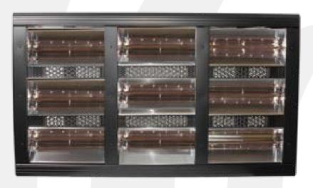 Heatlight HLQB Quarz schwarzer Infrarotstrahler 18000 Watt mit 2 versch. Lampenfarben