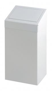 Abfallbehälter aus Metall mit Pushklappe, 50 Liter Weiß