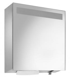 Wagner-EWAR Spiegelschrank mit integriertem Seifen- und Handtuchspender WP600 Edelstahl matt für Aufputzmontage