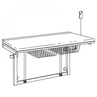 Pressalit weißer Wickeltisch zur Wandmontage 800x1800mm, mit verstellbarer Höhe