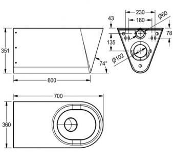 Franke CMPX594 Tiefspül-WC behindertengerecht geeignet zur Wandmontage - Vorschau 3