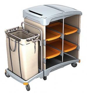 Splast Hotelwagen aus Kunststoff mit Regal und Leinensack 120l - Deckel optional