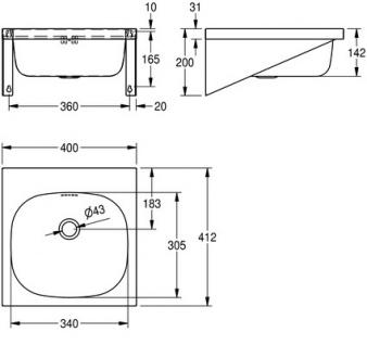 Franke Waschtisch Anima WT400A aus Chromnickelstahl zur Wandmontage - Vorschau 3