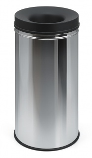 Feuerlöschender Papierkorb black top 48 Liter Edelstahl, Schwarz