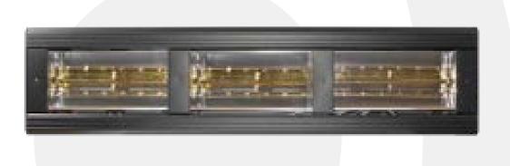 Heatlight HLQB Quarz schwarzer Infrarotstrahler 6000 Watt mit 2 versch. Lampenfarben