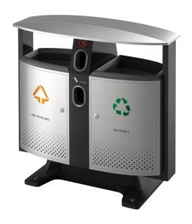 Abfallbehälter für draußen Abfalltrennung - Batterien Fach