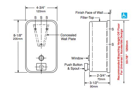 BOBRICK B-2111 Seifenspender Vertikal 1, 2 Liter Edelstahl matt geschliffen - Vorschau 2