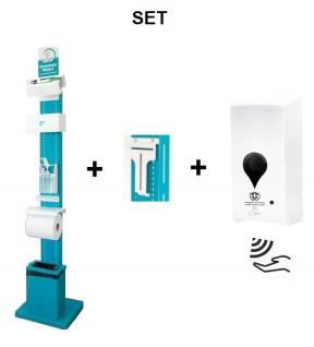 SET Desinfektionssäule Station mit Sensor Desinfektionsspender -- Multifunktional