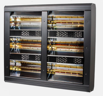 Heatlight HLQB Quarz schwarzer Infrarotstrahler 9000 Watt mit 2 versch. Lampenfarben