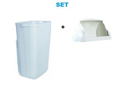 Set Marplast Mülleimer 23 Liter Weiß MP 742 mit Klappdeckel für Damenhygiene